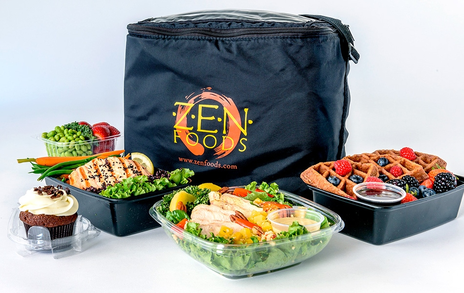 black cooler with prepared meals