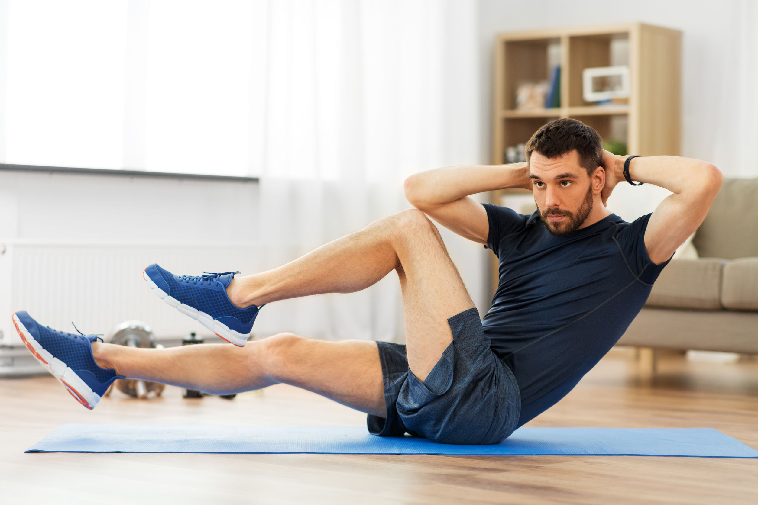 Man doing exercise to release stress