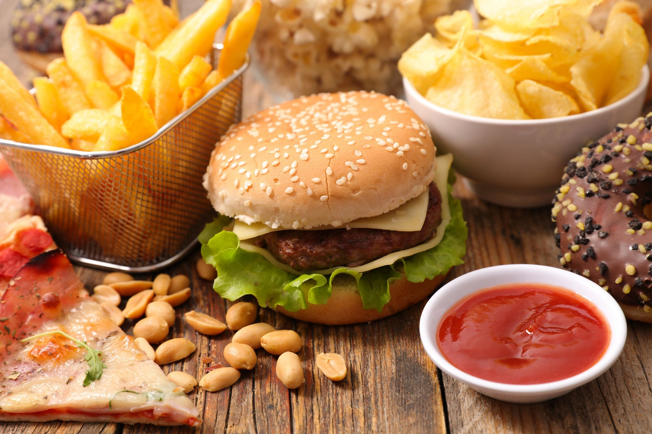 fast food like burgers, pizza, fries, and chips are bad for skincare